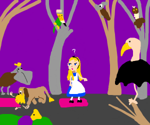 blonde person lost and confused in the forest