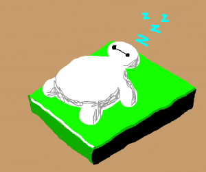 baymax sleeping in green square