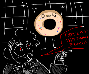 a suprised donut raising his hand