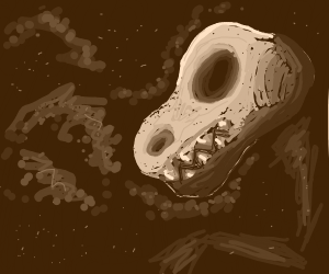 Digging up dinosaur skull