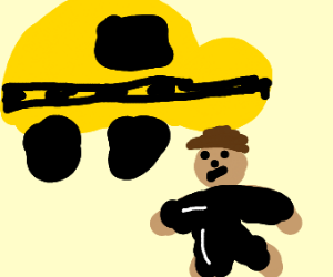 Taxi and a man in a rubber suit