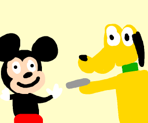 Pluto attacks Mickey
