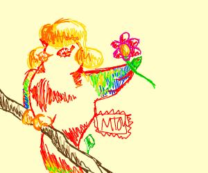 Parrot wearing blonde wig w/flower