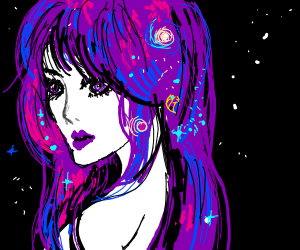 Giant, purple-haired space woman