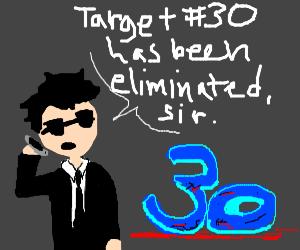 Man destroys the number 30