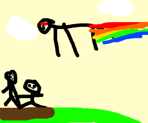rainbow man flies by 2 normies