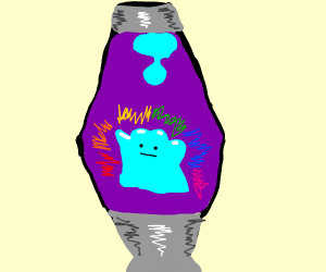 ditto in a lava lamp with rainbow aura