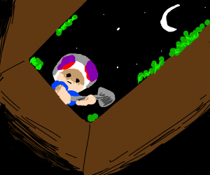 Toad buries an enemy at night