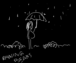 Pregnant lady holds umbrella rains beans