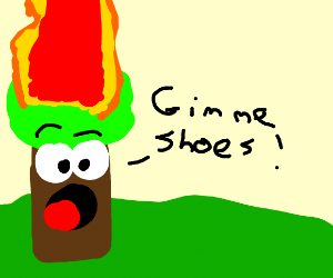 a tree on fire asking for shoes