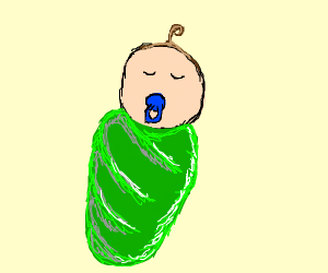 baby wrapped in lettuce