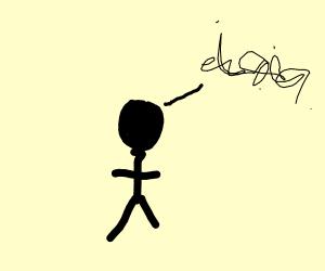 Man speaking the scribble language