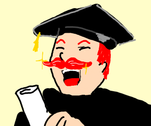 man with beautiful red moustache graduates