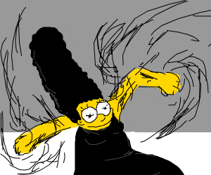 Marge with black hair