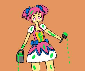 Anime girl spilt paint all over herself
