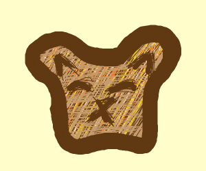 a piece of toast that looks like a cat