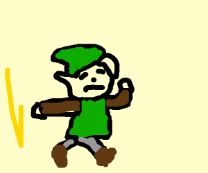 Link is running away from feral chickens