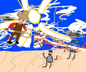 Farmer joe Ascends to godhood Killing Robots