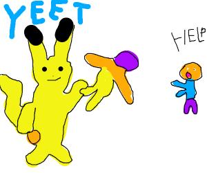 Pikachu yeets Thanos at someone