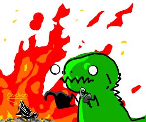 Dinosaur killing a chick