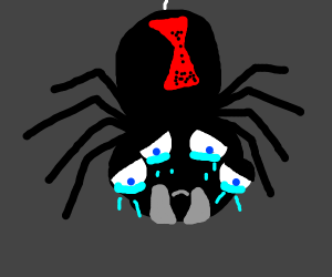 Black spider with red hourglass icon cries
