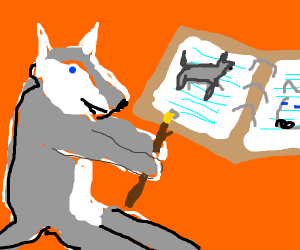 Wolf drawing pictures of wolfs in journal