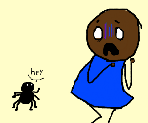 Black men afraid of spider