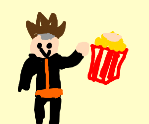 someone looking like Naruto drawing popcorn