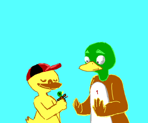 Baby duck giving his dad a voodoo doll