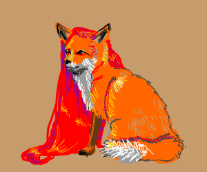 fox with long red hair like a human