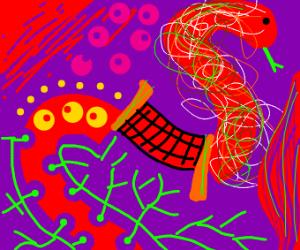 A red, avant-garde snake