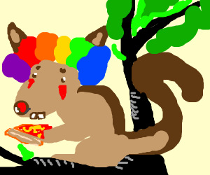 Clown squirrel going to get pizza in a tree