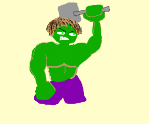 Hulk lifting thor's hammer (mjolnir)