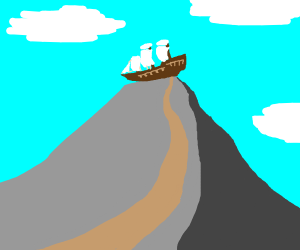 ship on top of a hill