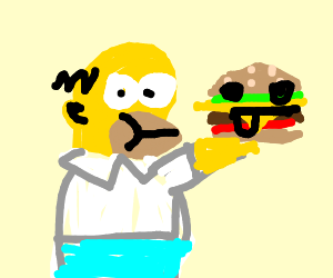 Homer Simpson eating a burger with a face