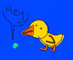 Tiny earth talk to giant bird