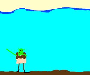 shrek dabbing under the ocean