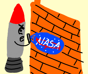 A rocket making a nasa graffiti on brick Wall