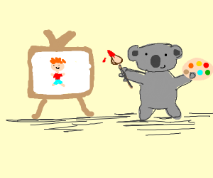 Koala paints a person