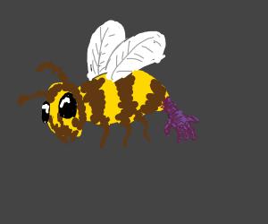 Bee has purple hand instead of stinger