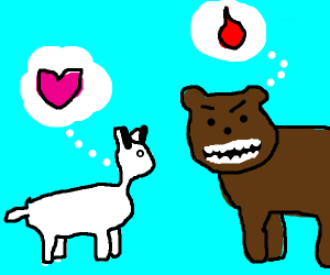 Goat is in love with blood-hungry bear