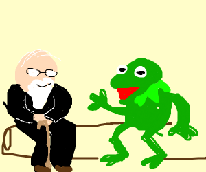 Old man wearing a vest talking 2 Kermit