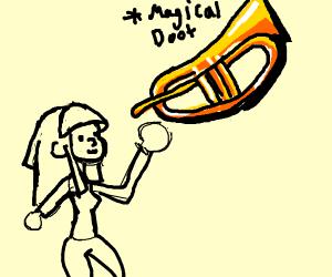 Mam with magic trumpet