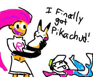 Blue Jessie finally catching a Pokemon