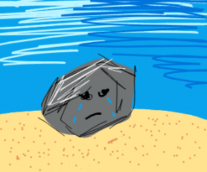 Rock crying on sand