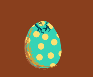 Cracked blue egg
