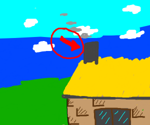 arrow pointing to a chimney