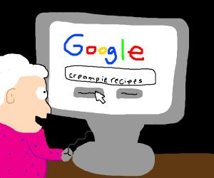 Grandma looking for creampie recipis online