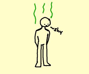Stinky man is shy