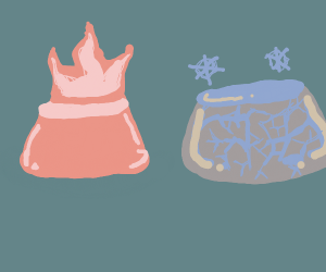 A flaiming pudding next to frozen pudding
